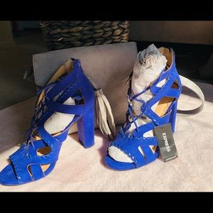 Express brand Pretty Blue with lace tie sandals